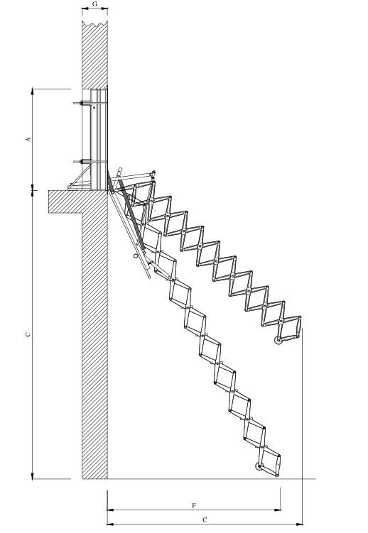 Misure e scheda scala retrattile aci alluminio parete