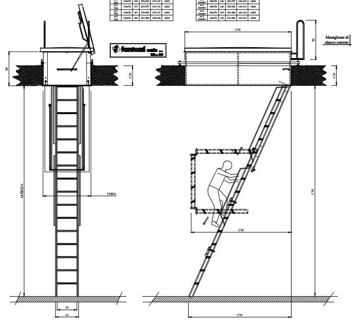 scheda tecnica e misure scala per botola aci tre terrazzo