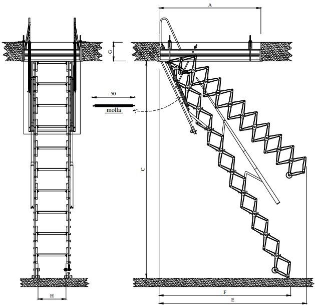 Scheda tecnica scala retrattile motorizzata aci alluminio